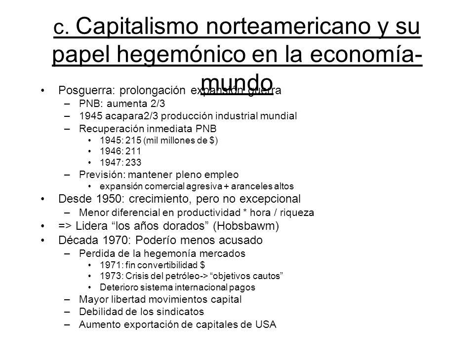 c. Capitalismo norteamericano y su papel hegemónico en la economía- mundo Posguerra: prolongación expansión guerra –PNB: aumenta 2/3 –1945 acapara2/3