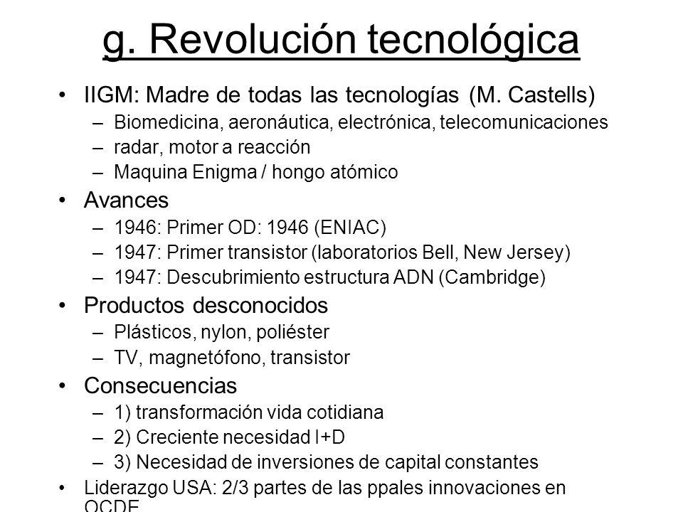 g. Revolución tecnológica IIGM: Madre de todas las tecnologías (M. Castells) –Biomedicina, aeronáutica, electrónica, telecomunicaciones –radar, motor