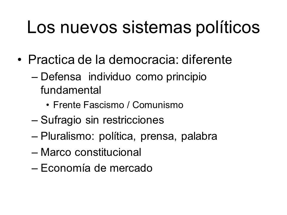 Los nuevos sistemas políticos Practica de la democracia: diferente –Defensa individuo como principio fundamental Frente Fascismo / Comunismo –Sufragio