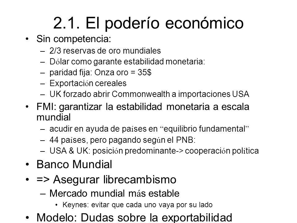 2.1. El poderío económico Sin competencia: –2/3 reservas de oro mundiales –D ó lar como garante estabilidad monetaria: –paridad fija: Onza oro = 35$ –