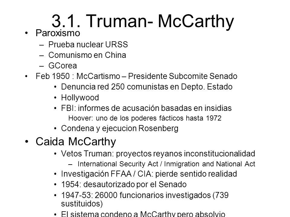 3.1. Truman- McCarthy Paroxismo –Prueba nuclear URSS –Comunismo en China –GCorea Feb 1950 : McCartismo – Presidente Subcomite Senado Denuncia red 250