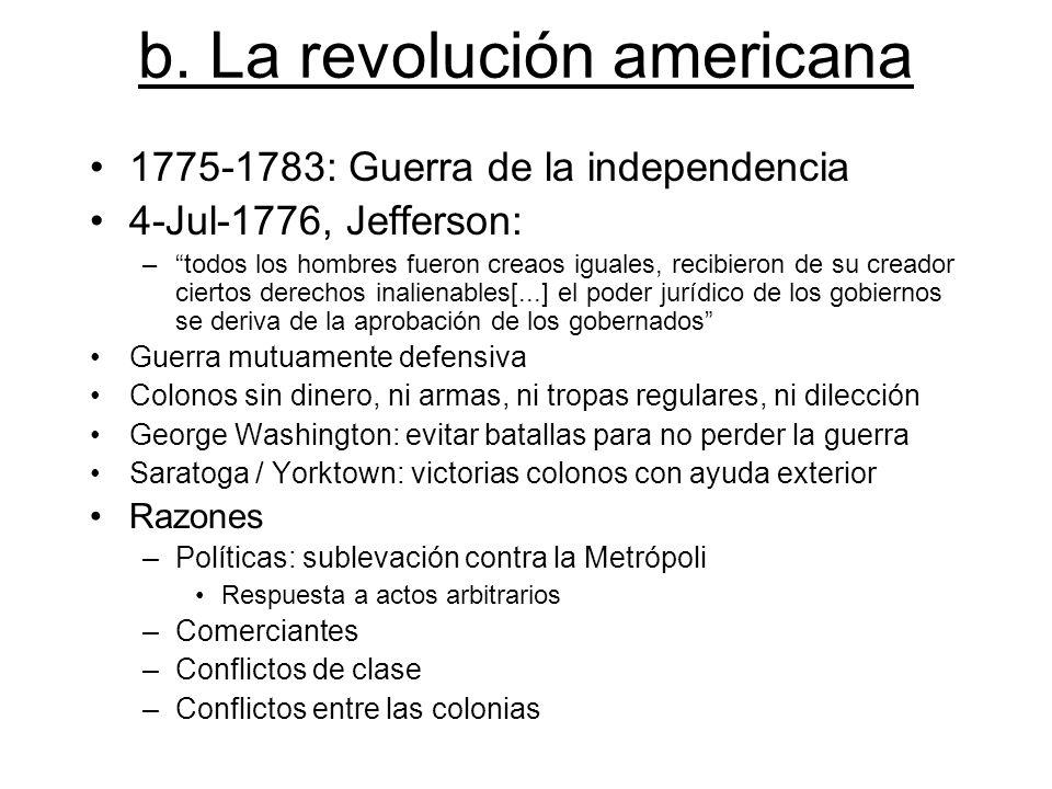 b. La revolución americana 1775-1783: Guerra de la independencia 4-Jul-1776, Jefferson: –todos los hombres fueron creaos iguales, recibieron de su cre
