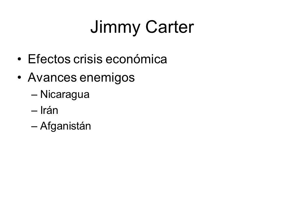 Jimmy Carter Efectos crisis económica Avances enemigos –Nicaragua –Irán –Afganistán