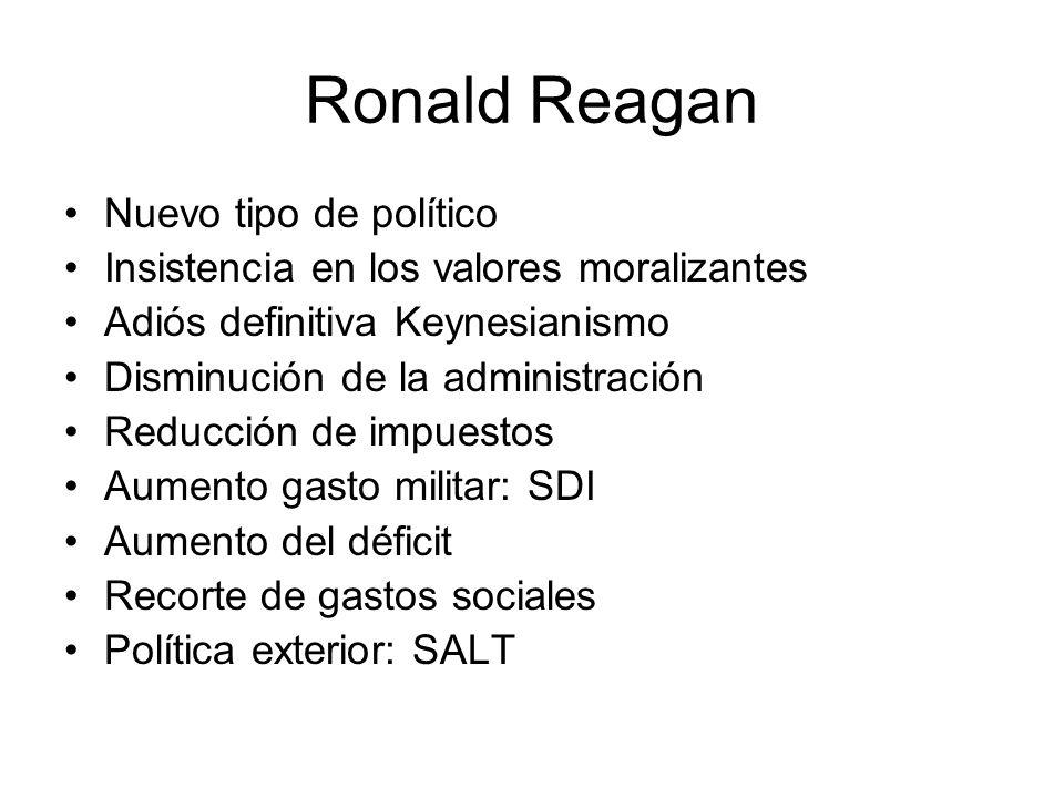 Ronald Reagan Nuevo tipo de político Insistencia en los valores moralizantes Adiós definitiva Keynesianismo Disminución de la administración Reducción