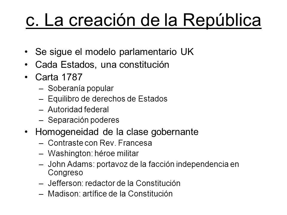 c. La creación de la República Se sigue el modelo parlamentario UK Cada Estados, una constitución Carta 1787 –Soberanía popular –Equilibro de derechos