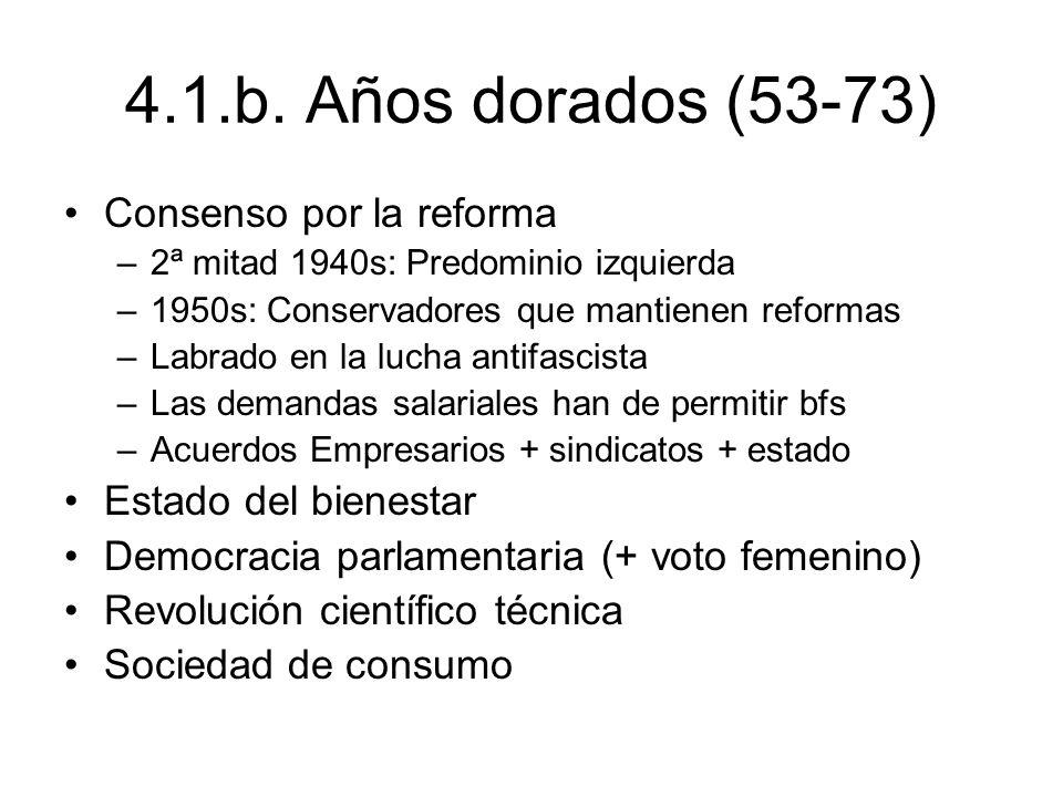 4.1.b. Años dorados (53-73) Consenso por la reforma –2ª mitad 1940s: Predominio izquierda –1950s: Conservadores que mantienen reformas –Labrado en la