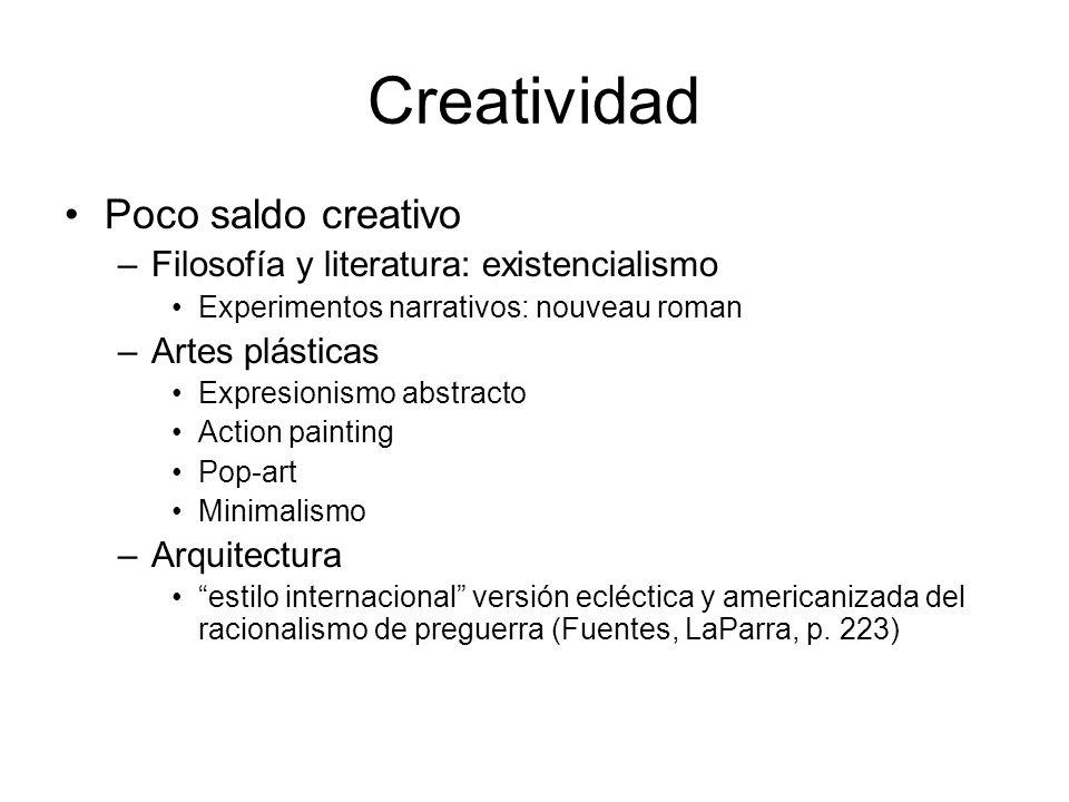 Creatividad Poco saldo creativo –Filosofía y literatura: existencialismo Experimentos narrativos: nouveau roman –Artes plásticas Expresionismo abstrac