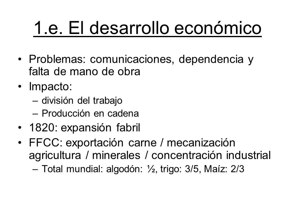 1.e. El desarrollo económico Problemas: comunicaciones, dependencia y falta de mano de obra Impacto: –división del trabajo –Producción en cadena 1820:
