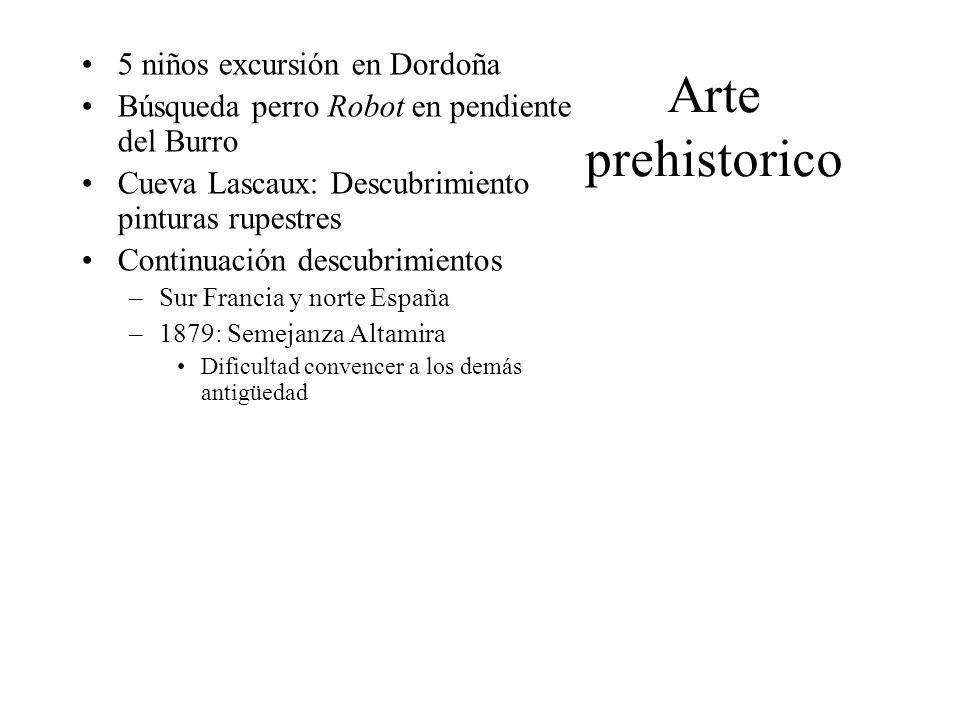 Arte prehistorico Datación –30-35.Años: dibujos sencillos –26-21.: siluetas –18.
