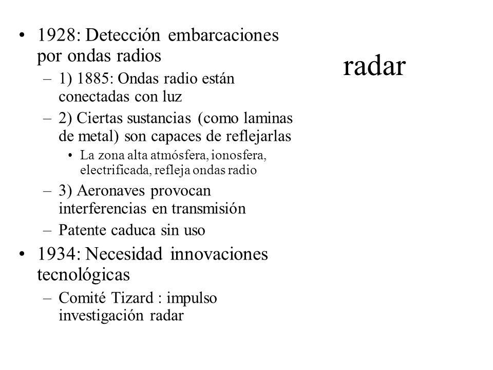 Radar II 1935: Descubrimiento causal –Robert Watson-wat: investiga rayo muerte –Rayo no destruye pero si regresa como eco –Pruebas: nav detectada a unos 13 km, sin precisar situación exacta 1936: Postes en East Anglia –Detectan trayectoria aviones a sesenta km –Necesario reducir longitud de onda rayos 1940: Magnoton de cavidad resonante –Tubo de vidrio p que extrajese energía de alta frecuencia y ondas + cortas –Estaciones costeras p seguimiento aviones enemigos –Capacidad calcular fuerza, altitud y velocidad