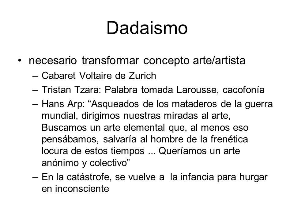 Dadaismo necesario transformar concepto arte/artista –Cabaret Voltaire de Zurich –Tristan Tzara: Palabra tomada Larousse, cacofonía –Hans Arp: Asquead