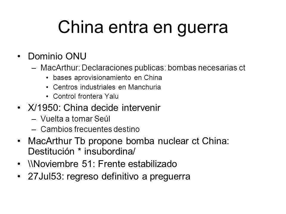 China entra en guerra Dominio ONU –MacArthur: Declaraciones publicas: bombas necesarias ct bases aprovisionamiento en China Centros industriales en Ma
