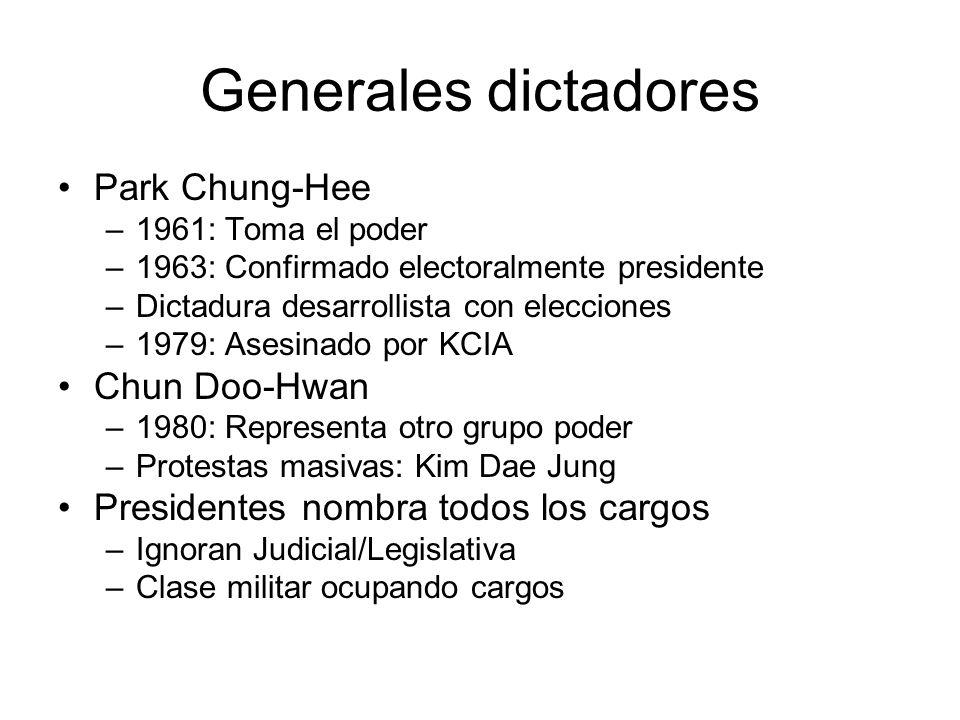 Generales dictadores Park Chung-Hee –1961: Toma el poder –1963: Confirmado electoralmente presidente –Dictadura desarrollista con elecciones –1979: As
