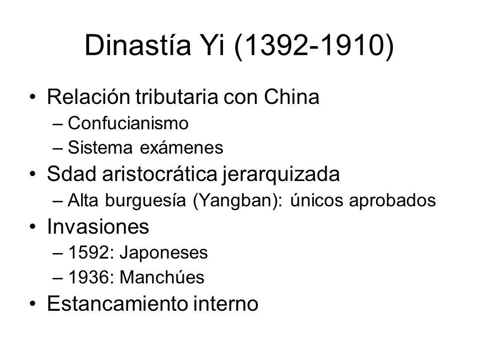 Dinastía Yi (1392-1910) Relación tributaria con China –Confucianismo –Sistema exámenes Sdad aristocrática jerarquizada –Alta burguesía (Yangban): únic