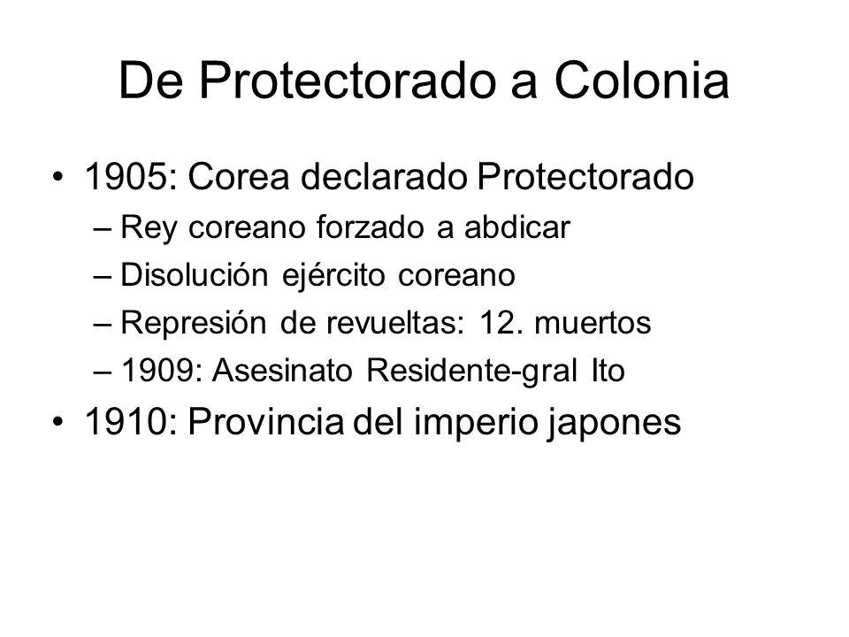 De Protectorado a Colonia 1905: Corea declarado Protectorado –Rey coreano forzado a abdicar –Disolución ejército coreano –Represión de revueltas: 12.