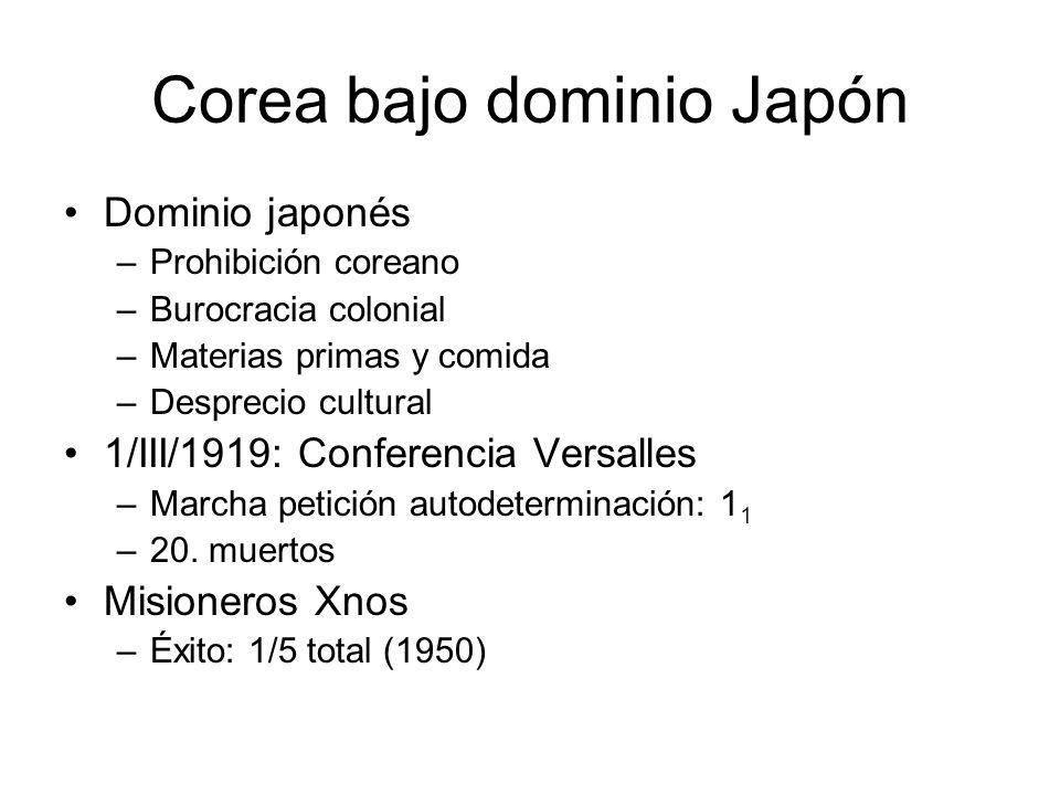 Corea bajo dominio Japón Dominio japonés –Prohibición coreano –Burocracia colonial –Materias primas y comida –Desprecio cultural 1/III/1919: Conferenc