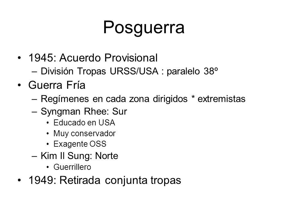 Posguerra 1945: Acuerdo Provisional –División Tropas URSS/USA : paralelo 38º Guerra Fría –Regímenes en cada zona dirigidos * extremistas –Syngman Rhee