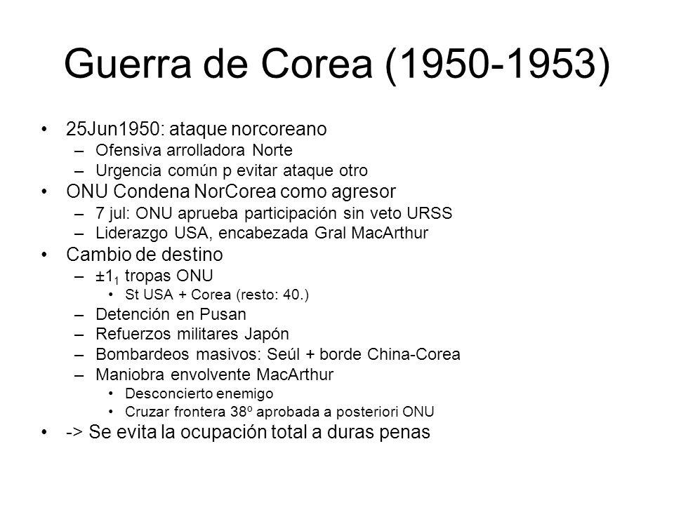 Guerra de Corea (1950-1953) 25Jun1950: ataque norcoreano –Ofensiva arrolladora Norte –Urgencia común p evitar ataque otro ONU Condena NorCorea como ag