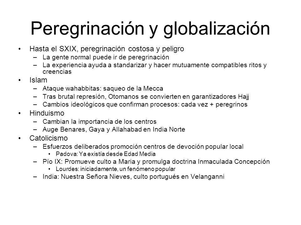 Peregrinación y globalización Hasta el SXIX, peregrinación costosa y peligro –La gente normal puede ir de peregrinación –La experiencia ayuda a standa