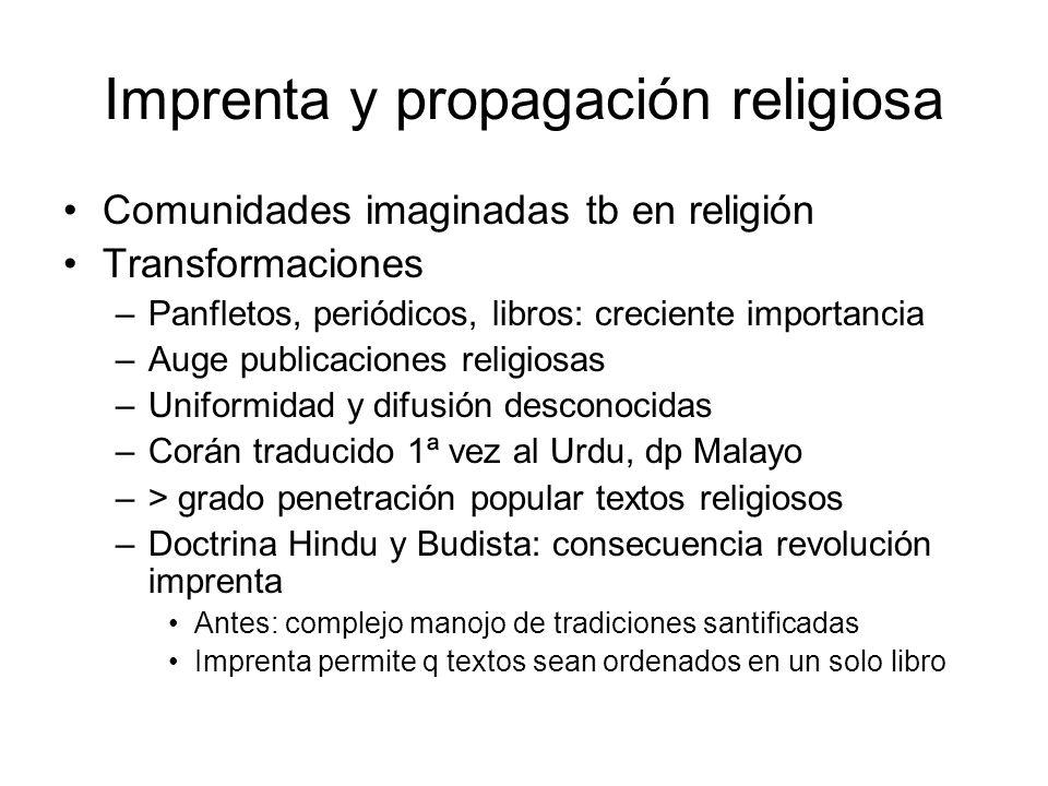 Imprenta y propagación religiosa Comunidades imaginadas tb en religión Transformaciones –Panfletos, periódicos, libros: creciente importancia –Auge pu