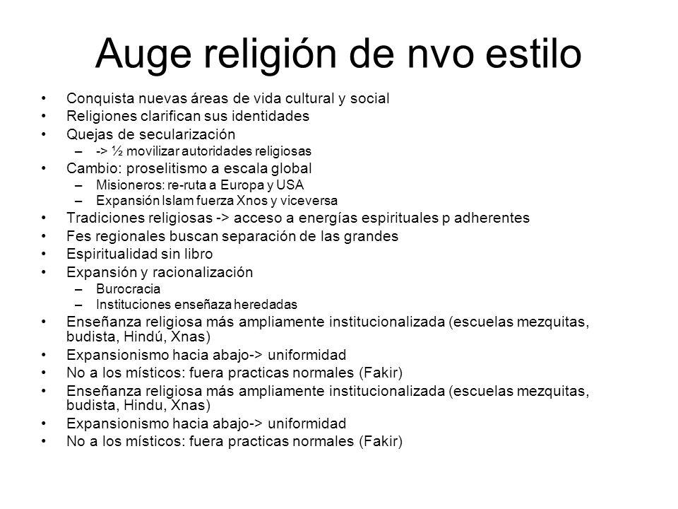 Auge religión de nvo estilo Conquista nuevas áreas de vida cultural y social Religiones clarifican sus identidades Quejas de secularización –-> ½ movi