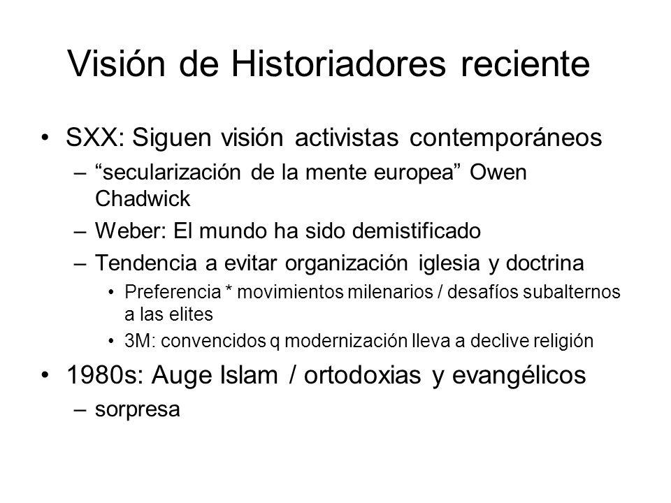 Visión de Historiadores reciente SXX: Siguen visión activistas contemporáneos –secularización de la mente europea Owen Chadwick –Weber: El mundo ha si
