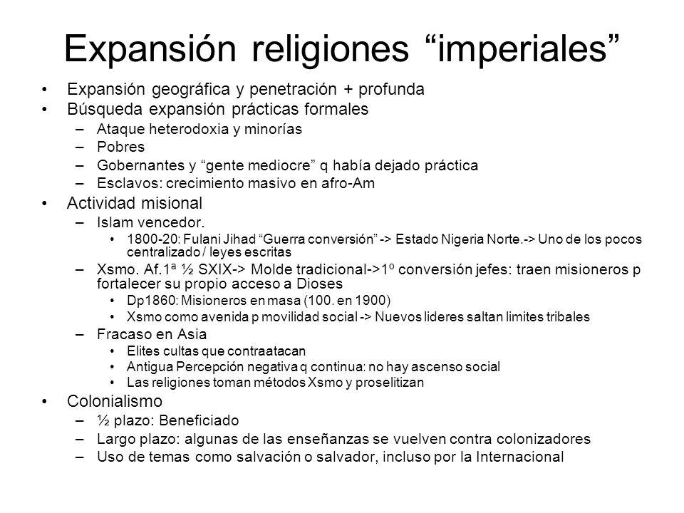 Expansión religiones imperiales Expansión geográfica y penetración + profunda Búsqueda expansión prácticas formales –Ataque heterodoxia y minorías –Po