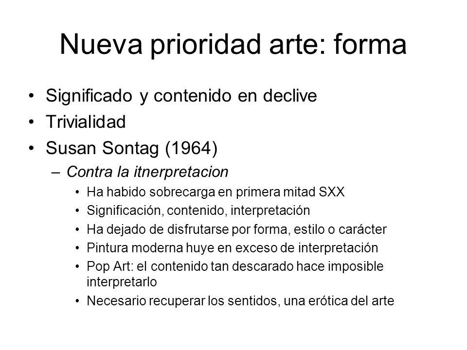 Nueva prioridad arte: forma Significado y contenido en declive Trivialidad Susan Sontag (1964) –Contra la itnerpretacion Ha habido sobrecarga en prime