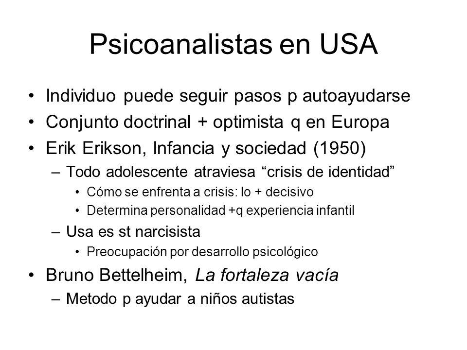 Psicoanalistas en USA Individuo puede seguir pasos p autoayudarse Conjunto doctrinal + optimista q en Europa Erik Erikson, Infancia y sociedad (1950)