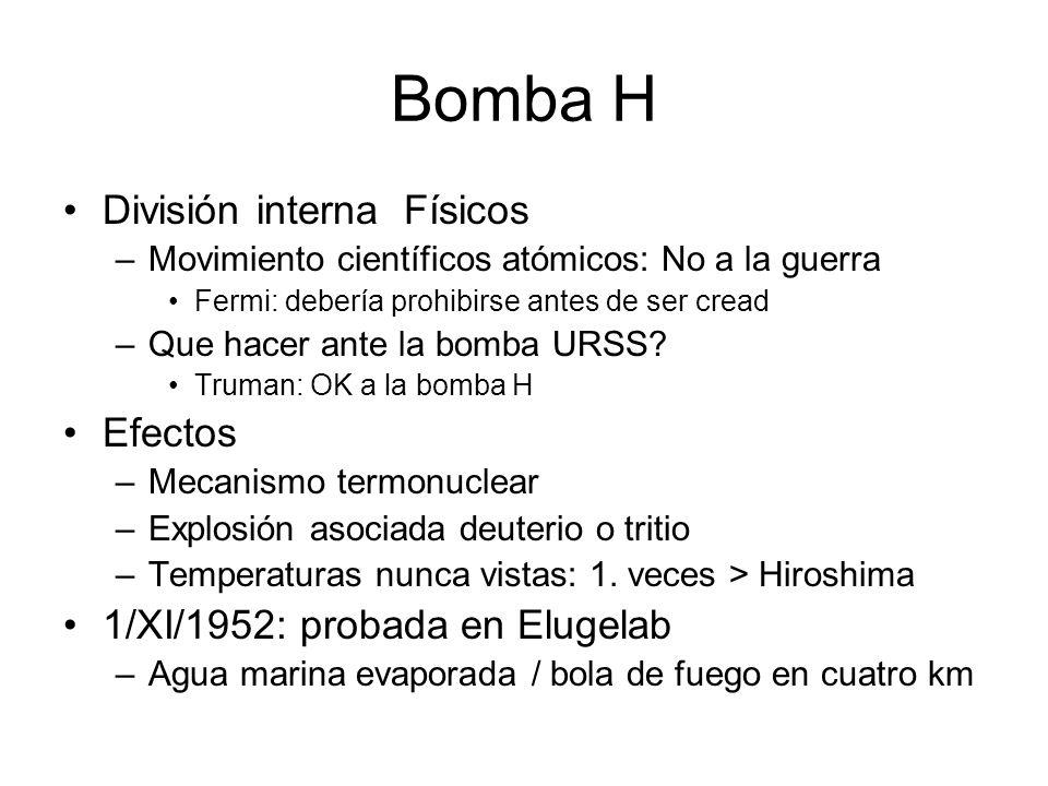 Bomba H División interna Físicos –Movimiento científicos atómicos: No a la guerra Fermi: debería prohibirse antes de ser cread –Que hacer ante la bomb