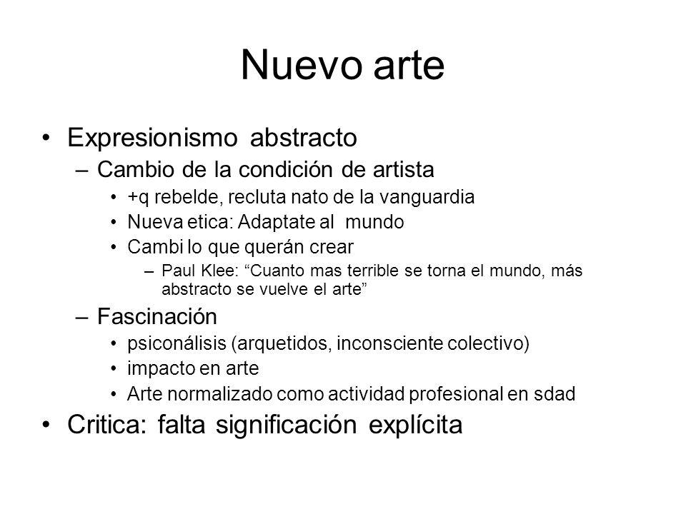 Nuevo arte Expresionismo abstracto –Cambio de la condición de artista +q rebelde, recluta nato de la vanguardia Nueva etica: Adaptate al mundo Cambi l