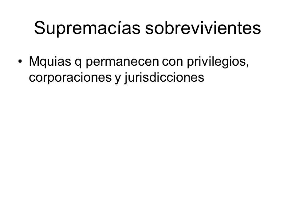 Supremacías sobrevivientes Mquias q permanecen con privilegios, corporaciones y jurisdicciones