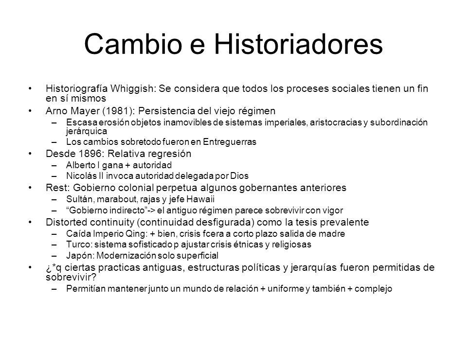 Cambio e Historiadores Historiografía Whiggish: Se considera que todos los proceses sociales tienen un fin en sí mismos Arno Mayer (1981): Persistenci