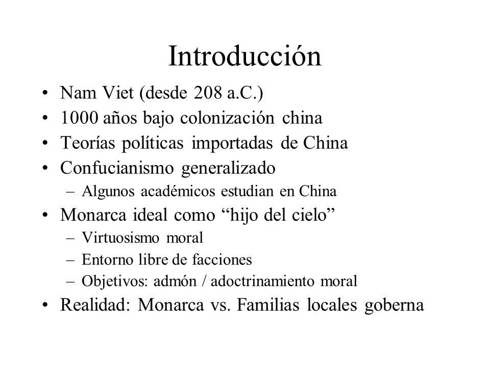 Introducción Nam Viet (desde 208 a.C.) 1000 años bajo colonización china Teorías políticas importadas de China Confucianismo generalizado –Algunos aca