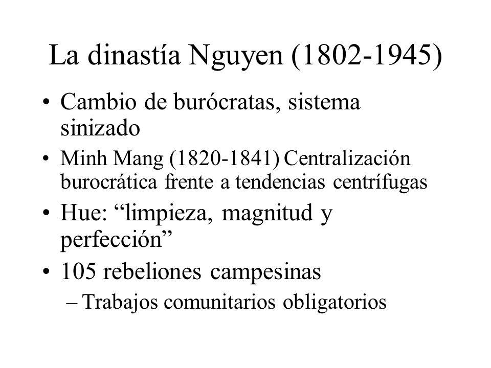 La dinastía Nguyen (1802-1945) Cambio de burócratas, sistema sinizado Minh Mang (1820-1841) Centralización burocrática frente a tendencias centrífugas