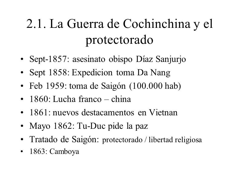 2.1. La Guerra de Cochinchina y el protectorado Sept-1857: asesinato obispo Díaz Sanjurjo Sept 1858: Expedicion toma Da Nang Feb 1959: toma de Saigón