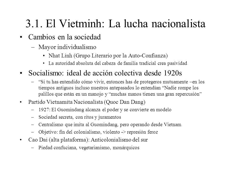 3.1. El Vietminh: La lucha nacionalista Cambios en la sociedad –Mayor individualismo Nhat Linh (Grupo Literario por la Auto-Confianza) La autoridad ab