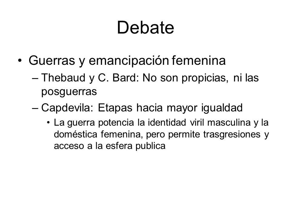 Debate Guerras y emancipación femenina –Thebaud y C. Bard: No son propicias, ni las posguerras –Capdevila: Etapas hacia mayor igualdad La guerra poten