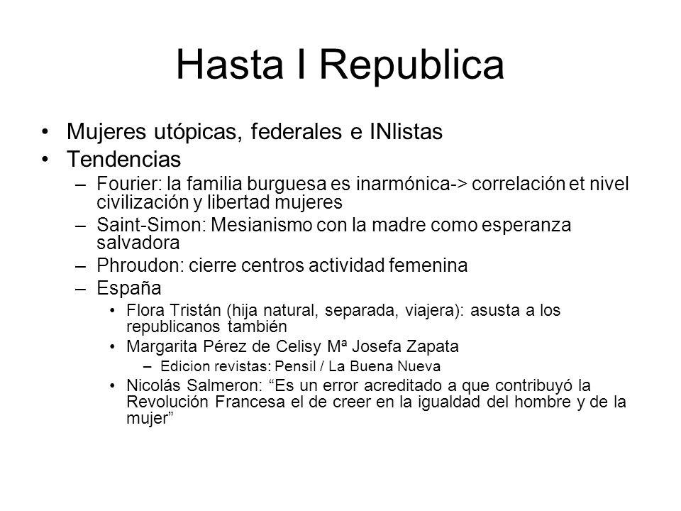 Hasta I Republica Mujeres utópicas, federales e INlistas Tendencias –Fourier: la familia burguesa es inarmónica-> correlación et nivel civilización y