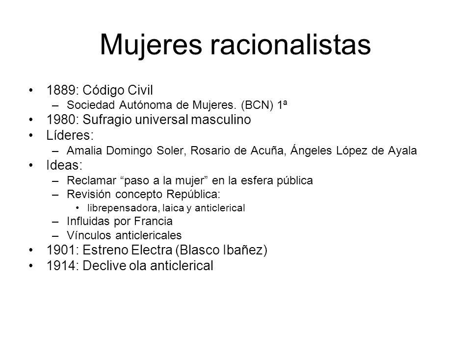 Mujeres racionalistas 1889: Código Civil –Sociedad Autónoma de Mujeres. (BCN) 1ª 1980: Sufragio universal masculino Líderes: –Amalia Domingo Soler, Ro