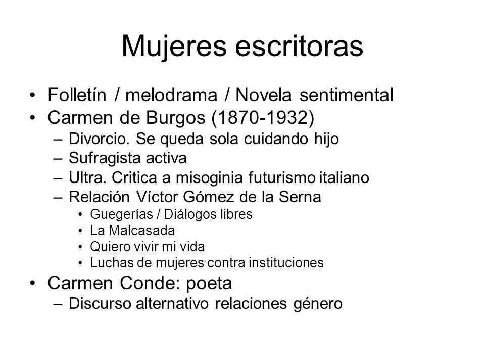 Mujeres escritoras Folletín / melodrama / Novela sentimental Carmen de Burgos (1870-1932) –Divorcio. Se queda sola cuidando hijo –Sufragista activa –U