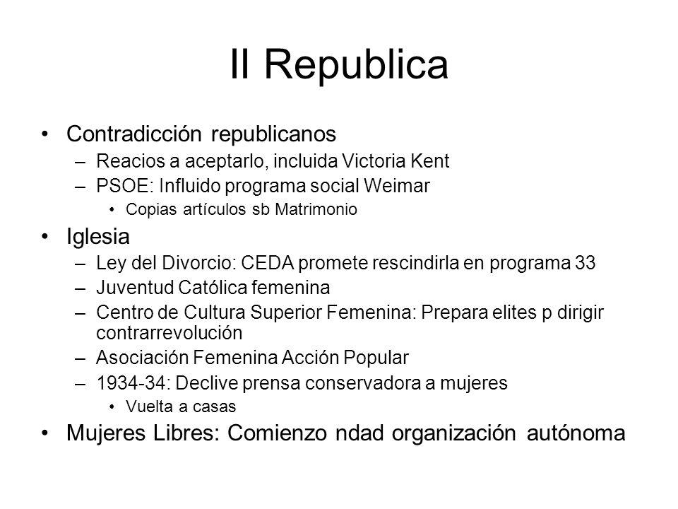 II Republica Contradicción republicanos –Reacios a aceptarlo, incluida Victoria Kent –PSOE: Influido programa social Weimar Copias artículos sb Matrim