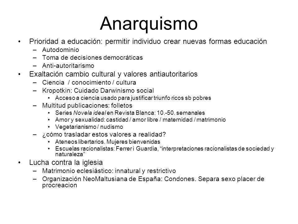 Anarquismo Prioridad a educación: permitir individuo crear nuevas formas educación –Autodominio –Toma de decisiones democráticas –Anti-autoritarismo E