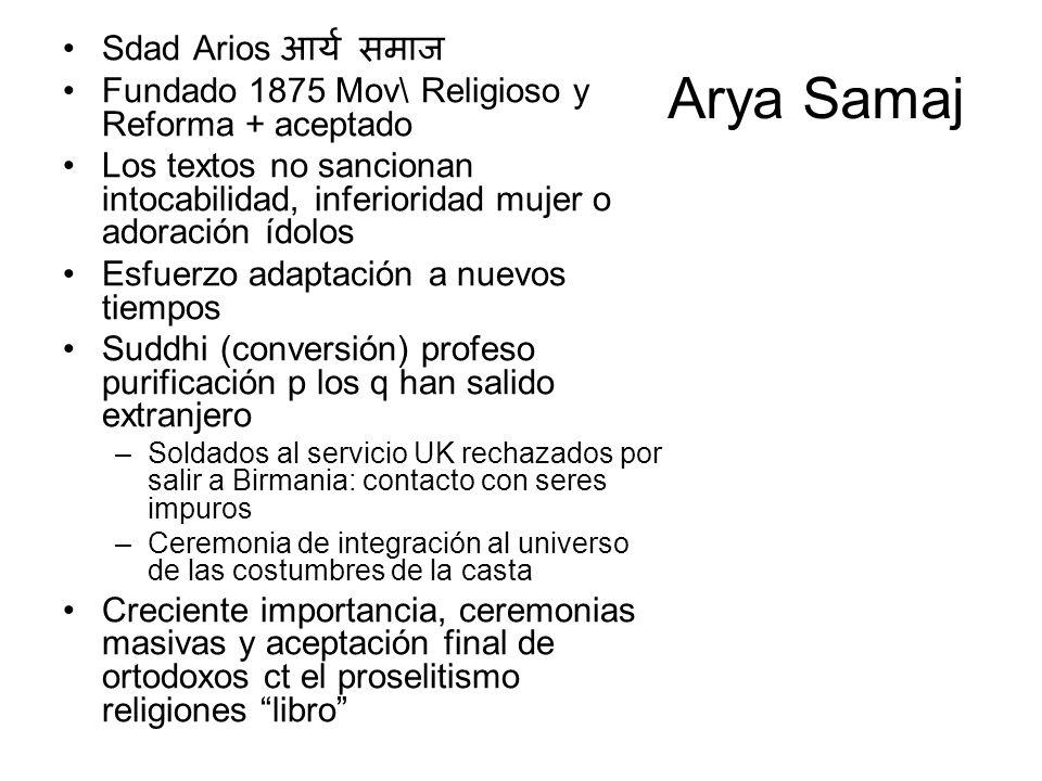 Arya Samaj Sdad Arios Fundado 1875 Mov\ Religioso y Reforma + aceptado Los textos no sancionan intocabilidad, inferioridad mujer o adoración ídolos Es