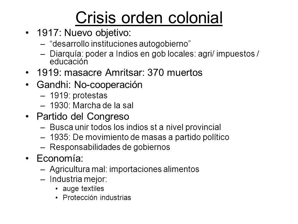 Crisis orden colonial 1917: Nuevo objetivo: –desarrollo instituciones autogobierno –Diarquía: poder a Indios en gob locales: agri/ impuestos / educaci
