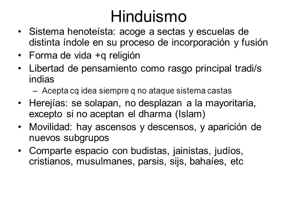 Hinduismo Sistema henoteísta: acoge a sectas y escuelas de distinta índole en su proceso de incorporación y fusión Forma de vida +q religión Libertad