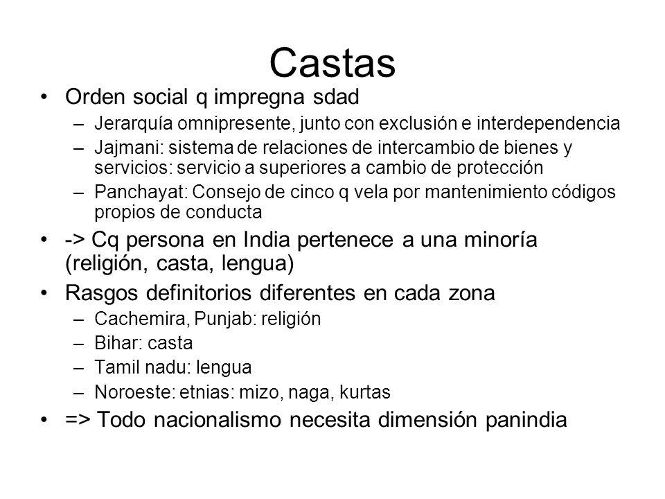 Castas Orden social q impregna sdad –Jerarquía omnipresente, junto con exclusión e interdependencia –Jajmani: sistema de relaciones de intercambio de