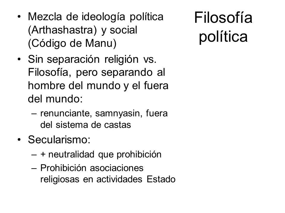 Filosofía política Mezcla de ideología política (Arthashastra) y social (Código de Manu) Sin separación religión vs. Filosofía, pero separando al homb
