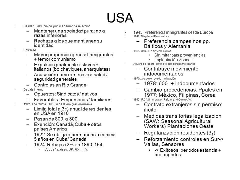 USA Desde 1890: Opinión publica demanda selección –Mantener una sociedad pura: no a razas inferiores –Rechaza a los que mantienen su identidad Post IGM –Mayor proporción general inmigrantes + temor comunismo –Expulsión ppalmente eslavos + italianos (bolcheviques, anarquistas) –Acusación como amenaza a salud / seguridad generales –Controles en Río Grande Debate interno –Opuestos: Sindicatos / nativos –Favorables: Empresarios / familiares 1921: The Cuota Law: Fin de la emigración masiva –Limita total a 3% anual de residentes en USA en 1910 –Pasan de 800.