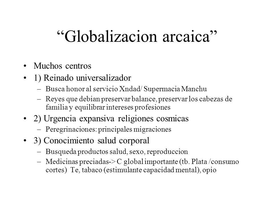 Globalizacion arcaica Muchos centros 1) Reinado universalizador –Busca honor al servicio Xndad/ Supermacia Manchu –Reyes que debian preservar balance,